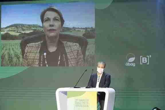 Ministra Tereza Cristina durante solenidade de abertura do 20º Congresso Brasileiro do Agronegócio Crédito foto: Cauê Diniz