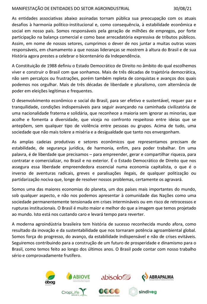 AGRONEGÓCIO FAZ MANIFESTO PELA DEMOCRACIA